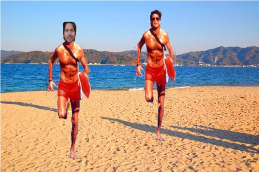 After a grueling schedule, Mike and The Hoff take a leisurely jog near the Sea of Japan.
