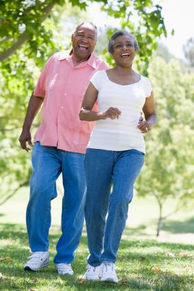 Senior couple having fun in park